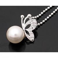 Сладкий Перл Декор Бабочка Форма ожерелье #01026945