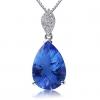 Женская Синий Серебро 925 Cystal Груша Кулон D0350BL-L (10 * 14MM)