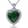 Бесо Женская Зеленый Серебро 925 Cystal Сердце Кулон D0364BL-LV (9 * 9 мм)