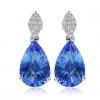 Женская Синий Серебро 925 Cystal Груша серьги R0120BL-L (8 * 12 мм)