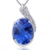 Женская Синий Серебро 925 Cystal Яйцо Кулон D0295BL-L (10.5 * 16MM)