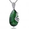 Женская Зеленый Серебро 925 Cystal Груша Кулон D0301BL-LV (11 * 20 мм)