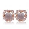 Женская Розовый Серебро 925 Росс Кварцевые Бал серьги R0113FRS (5 мм)