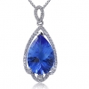 Женская Синий Серебро 925 Cystal Груша Кулон D0328BL-L (11 * 16 мм)
