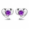 Фиолетовый 925 Baihe Женщин серебряные 0.8 * 0.8cm ногтя уха