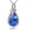 Женская Синий Серебро 925 Cystal Груша Кулон D0388BL-L (8 * 12 мм)