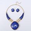 Богатые Длинные Женская мода Royal Blue ожерелье и серьги Set