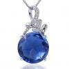 Женская Синий 926 Серебряный Круглый Кулон D0290BL-L (13MM)