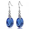 Женская Синий Серебро 925 Cystal яйцо серьги R0116BL-L (10 * 14MM)