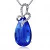 Женская Синий Серебро 925 Cystal Груша Кулон D0393BL-L (10 * 18 мм)